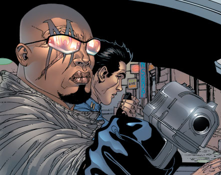 Lucas Bishop, with the 'M' over his eye that brands him a mutant. Image courtesy of Marvel Entertainment