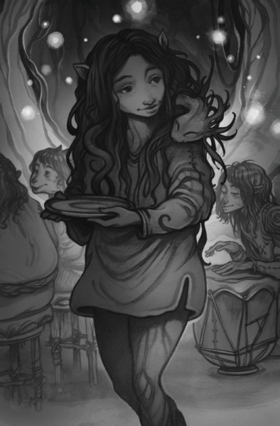 A black-and-white illustration of a Gelfling girl without wings, holding a plate