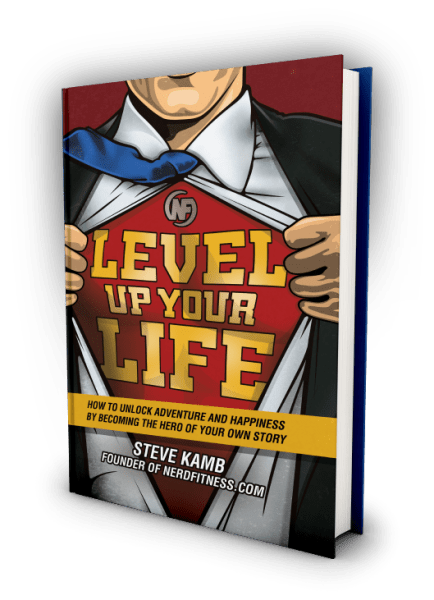 Hardcover book image with a reference to Superman pulling his shirt across saying Level Up Your life