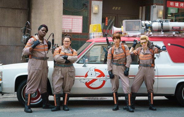 A cast photo of the new Ghostbusters, including Leslie Jones