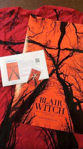 Photo of Blair Witch T-shirt, pin, and promotional ticket