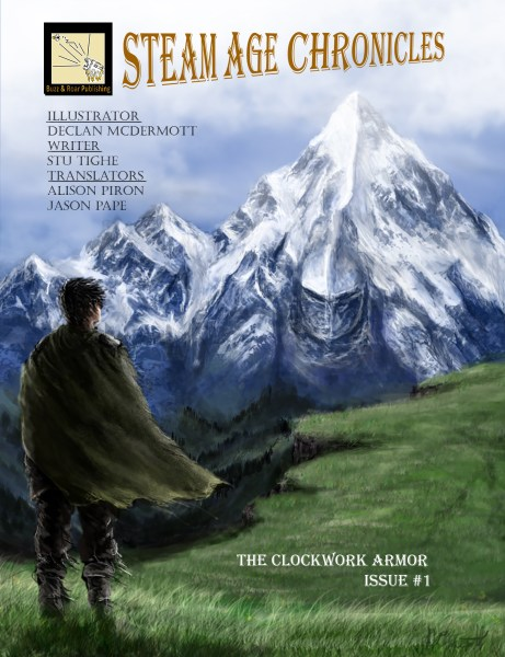 Cover art featuring a cloaked figure with their back to the viewer, standing on a grassy hill with a mountain in front of them