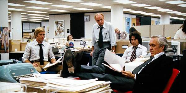 The cast in the offices of the Washington Post