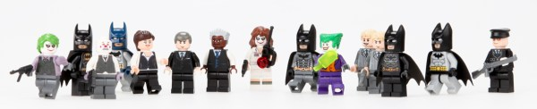 A series of Batman-themed Lego minifigs