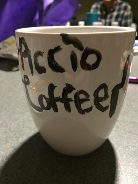 "Coffee mug featuring the words ""Accio Coffee"""