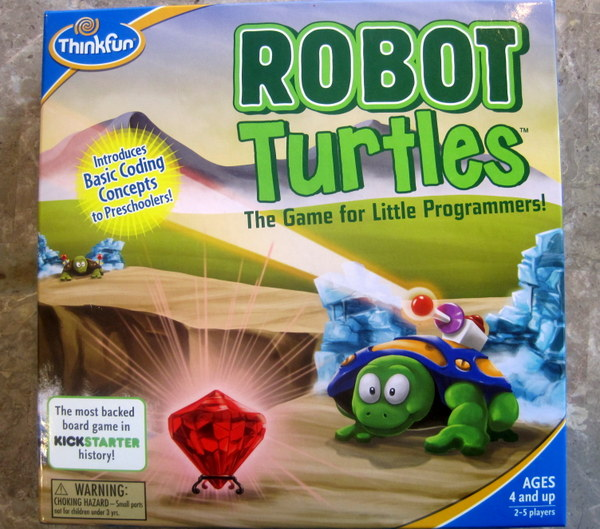 The front of the Robot Turtles game box