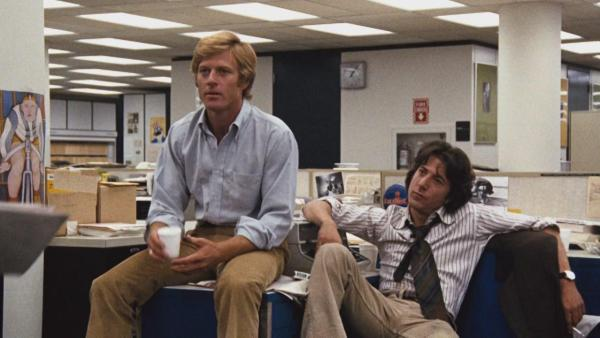 Dustin Hoffman as Carl Bernstein and Robert Redford as Bob Woodward