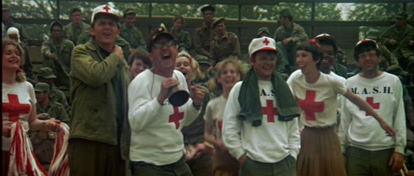 The M*A*S*H unit cheering on their team.