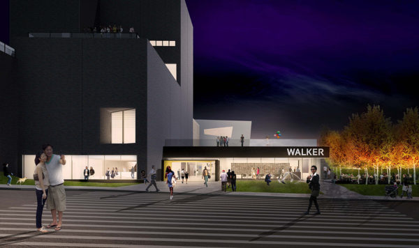 A picture of the outside of the yet to be completed Walker Art Center at night.