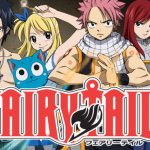 The five main characters of Fairy Tail lined up behind series title