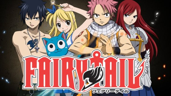 The five main characters of Fairy Tail lined up behind the series title