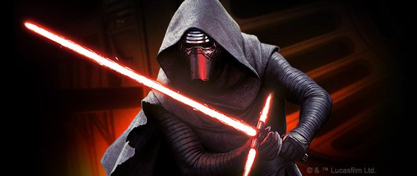 Kylo Ren with his lightsaber