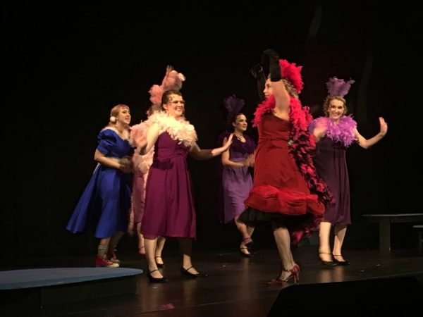"Mayzie, played by Keri Hommez, leads the Bird Girls, Catherine Erickson, Lauren Omernik, Anna Reimann and Julia Reimann in the song ""Amazing Mayzie"" while Gertrude, Anne Brown, looks on."