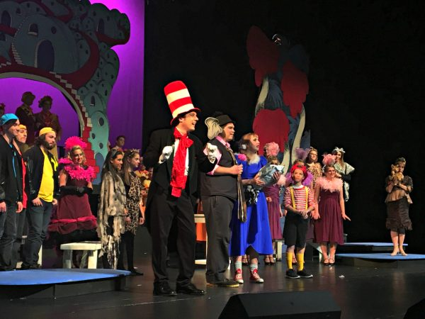 The Cat, Ben Habegger, narrates as Horton, Jake Ranier, and Gertrude, Anne Brown, welcome Morton, the elephant bird.