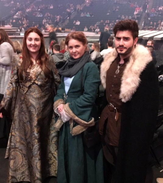 Fantastic Sansa, Catelyn, and Robb Stark cosplayers.