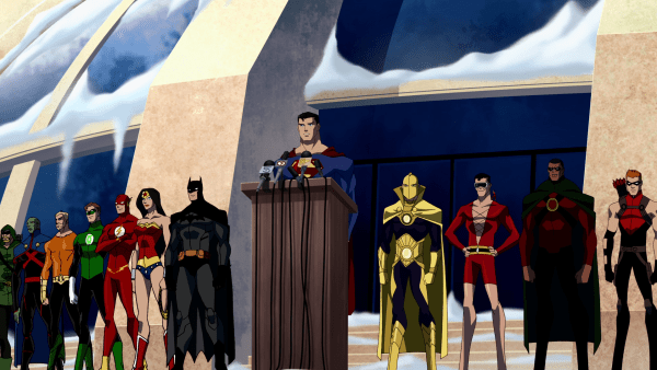 Superman and the Justice League at a podium, making an announcement