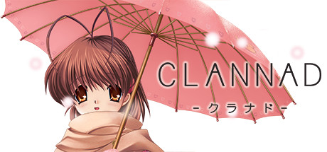 The Clannad promotional graphic, with the heroine bundled up for snow and holding an umbrella.