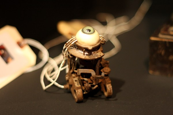 A replica eyeball on a small mechanical contraption