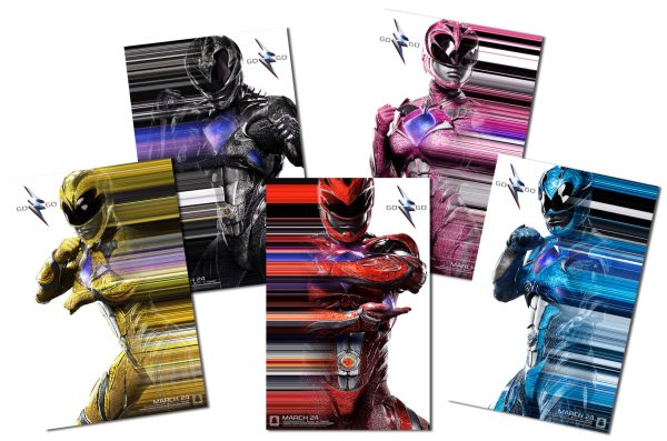 Character posters of the Yellow, Black, Red, Pink, and Blue Rangers