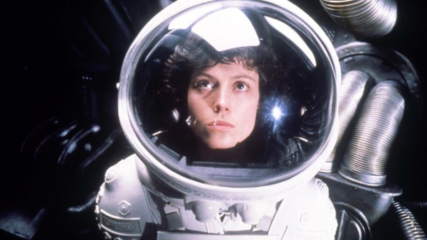 Ripley donning a spacesuit.