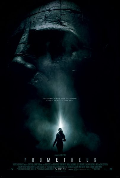 The poster for Prometheus. Tagline reads: The search for our beginning could lead to our end.