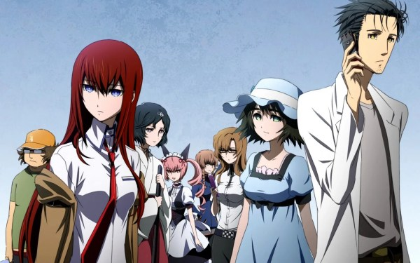 The main cast of Steins;Gate standing in a line