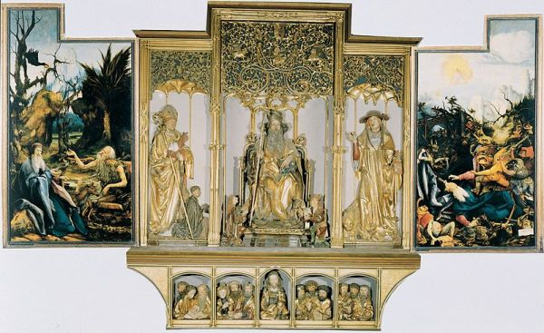 An altarpiece showing various Biblical scenes.