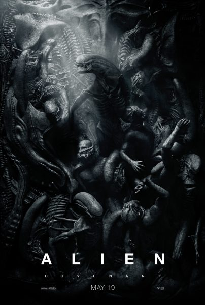 Promotional poster for Alien: Covenant depicting a wall of humans and xenomorphs intertwined.