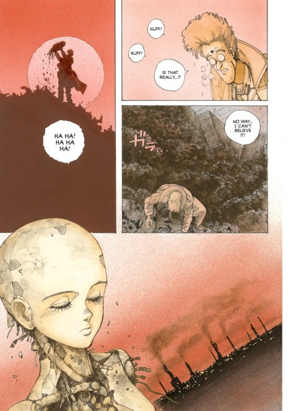 Full-color panels from Battle Angel Alita depicting Ido searching through the scrap heap and finding the remains of Alita, a cyborg girl