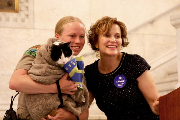 Betsy Hodges with Hans the cat
