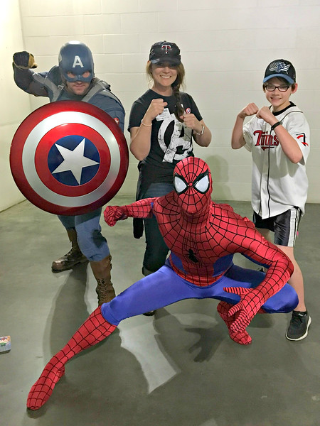 Fans with Captian America and Spider-Man