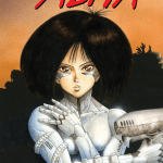 Cover art for Volume 1 of Battle Angel Alita - the cyborg Alita stands against an orange background with her arms crossed over her chest and a sci-fi gun in her right hand