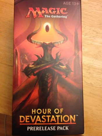 Red box with an image of Nicol Bolas (Dragon) on the front