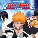 The protagonist of Bleach, Ichigo Kurosaki, looking toward the camera with an aggressive expression as he tightens a bandage around his hand using his teeth. Several of his friends stand behind him in various poses, against a blue background