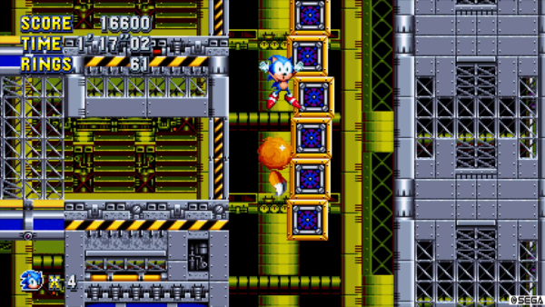 A view of Sonic Mania's gameplay