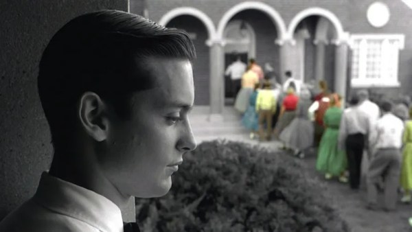 The people of Pleasantville start to appear in color.