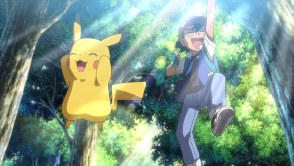Pikachu and Ash jumping
