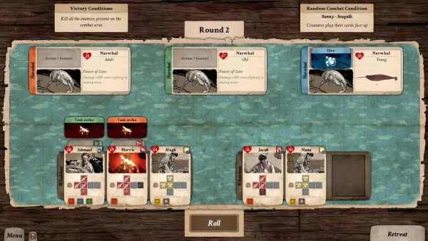 Screenshot of Nantucket's turn-based combat.