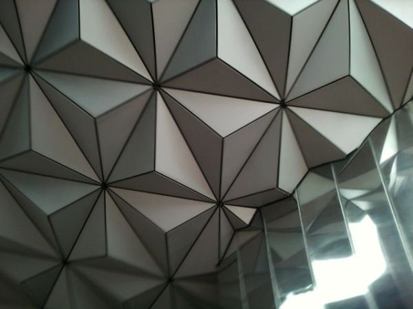 Close up of the sphere at Epcot