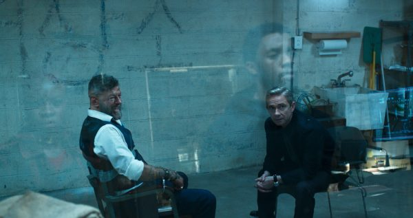 Andy Serkis as Ulysses Klaue and Martin Freeman as Everett Ross