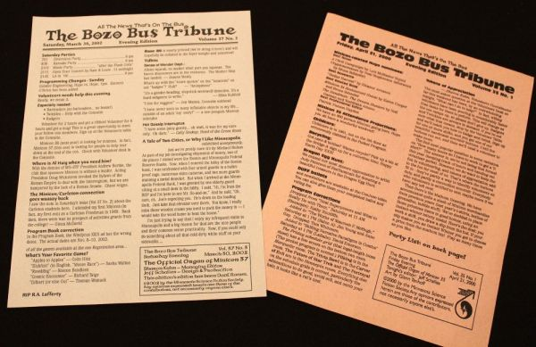 Issues of the Bozo Bus Tribune from 2000 and 2002