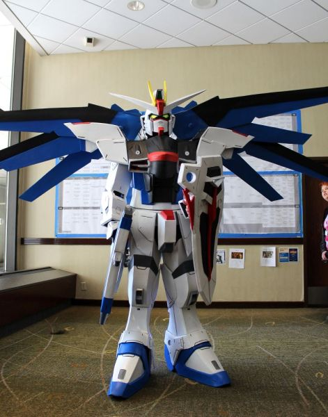 An elaborate Gundam costume
