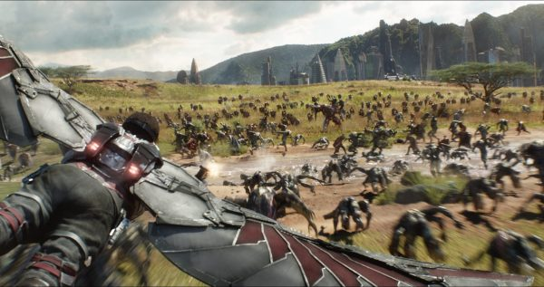 Battle scene featuring Falcon from Avengers: Infinity War