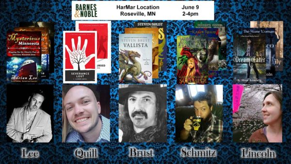 Image shows 5 headshots of authors who will appear at the Roseville Barnes & Noble