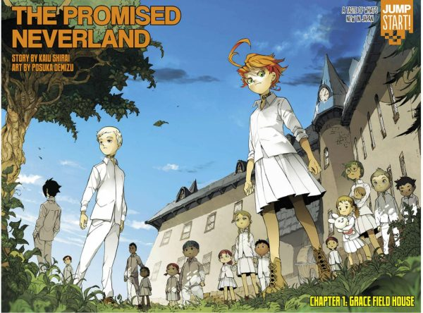 Color spread of Emma, Norman, and Ray, as well as the other children from The Promised Neverland