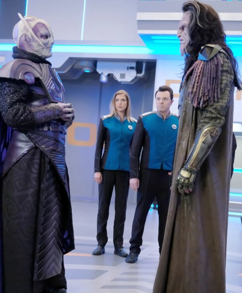 Derek Mears, Adrianne Palicki, Seth MacFarlane, and J Paul Boehmer in The Orville