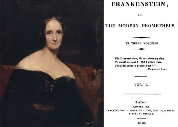 Mary Shelley portrait and Frankenstein title page