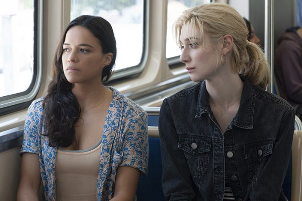 Michelle Rodriguez and Elizabeth Debicki on a bus