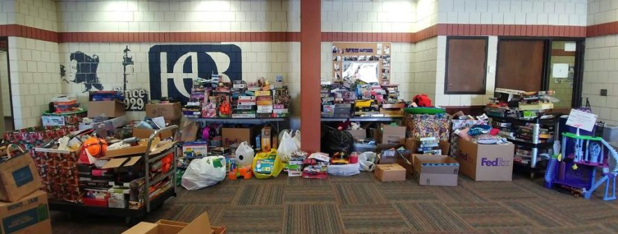 A wide view of donated items