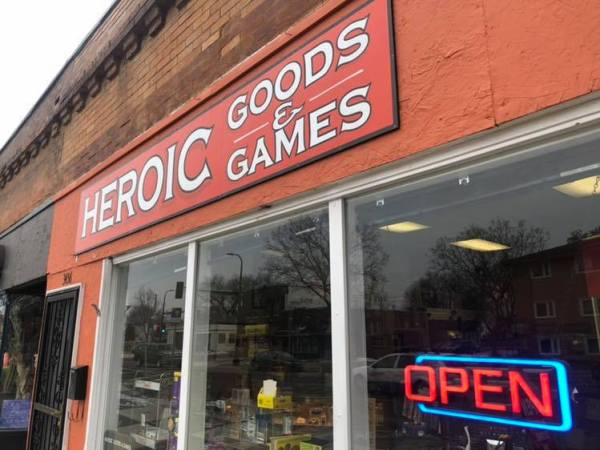 The Heroic Games and Goods storefront